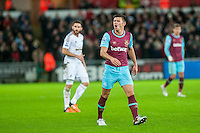 Aaron Cresswell of West Ham United reacts during the Barclays Premier League match between Swansea City and West Ham United played at the Liberty Stadium, Swansea  on December 20th 2015
