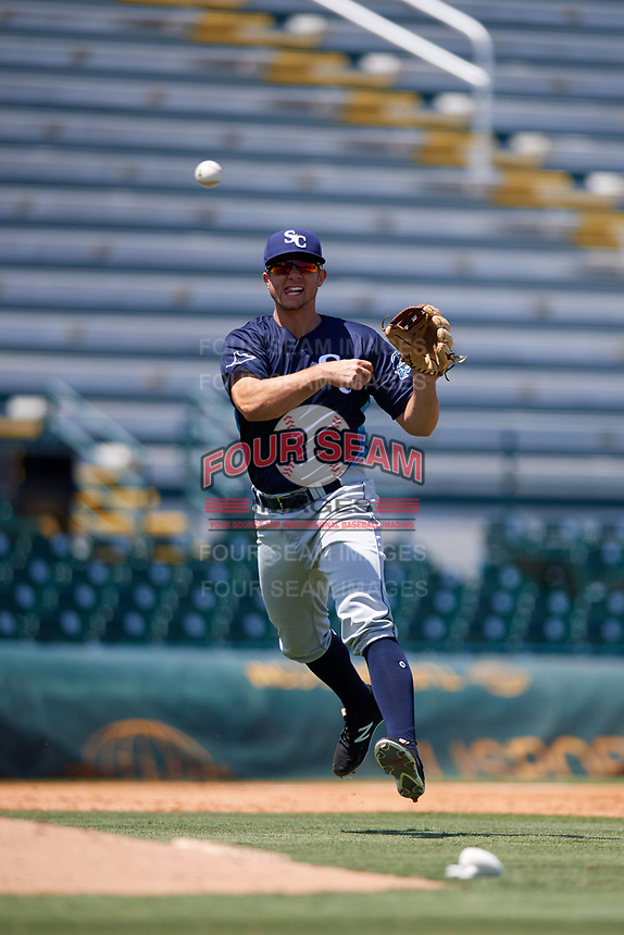 Charlotte Stone Crabs third baseman Kevin Padlo (11) throws to first base during a game against the Bradenton Marauders on April 9, 2017 at LECOM Park in Bradenton, Florida.  Bradenton defeated Charlotte 5-0.  (Mike Janes/Four Seam Images)