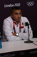 Hampden Park, Glasgow match venue for Football at London 2012...Zakaria Labyad of the Moroccan Mens Football Team at the Press Conference..........