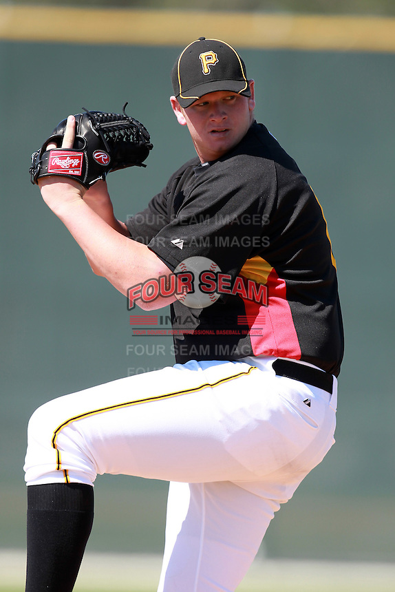 Pittsburgh Pirates minor league pitcher Brooks Pounders vs. the Philadelphia Phillies in an Instructional League game at Pirate City in Bradenton, Florida;  October 5, 2010.  Photo By Mike Janes/Four Seam Images