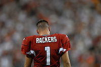 Oct. 16, 2006; Glendale, AZ, USA; Arizona Cardinals kicker (1) Neil Rackers heads off the field after missing a field goal against the Chicago Bears at University of Phoenix Stadium in Glendale, AZ. Mandatory Credit: Mark J. Rebilas