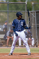 San Diego Padres third baseman Fernando Tatis, Jr. (23) at bat during an Instructional League game against the Milwaukee Brewers on September 27, 2017 at Peoria Sports Complex in Peoria, Arizona. (Zachary Lucy/Four Seam Images)