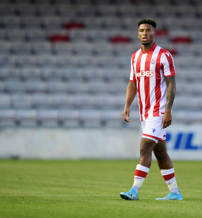 Stoke City's Tyrese Campbell<br /> <br /> Photographer Chris Vaughan/CameraSport<br /> <br /> Football Pre-Season Friendly - Lincoln City v Stoke City - Wednesday July 24th 2019 - Sincil Bank - Lincoln<br /> <br /> World Copyright © 2019 CameraSport. All rights reserved. 43 Linden Ave. Countesthorpe. Leicester. England. LE8 5PG - Tel: +44 (0) 116 277 4147 - admin@camerasport.com - www.camerasport.com