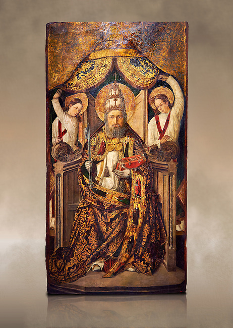 Gothic Catalan altarpiece of Saint Peter enthroned, by Roderic d'Orsona of Valencia, circa 1475, tempera and gold leaf on wood.  National Museum of Catalan Art, Barcelona, Spain, inv no: MNAC 15816. Against a art background.