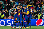 Lionel Andres Messi of FC Barcelona celebrates with teammates during the UEFA Champions League 2017-18 match between FC Barcelona and Olympiacos FC at Camp Nou on 18 October 2017 in Barcelona, Spain. Photo by Vicens Gimenez / Power Sport Images