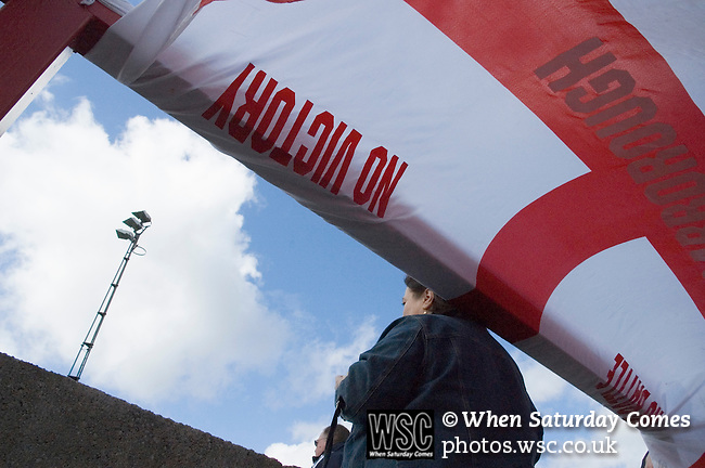 Accrington Stanley 1 Scarborough 0, 17/04/2006. Crown Ground, Football Conference. A Scarborough flag flying in the away end. Photo by Paul Thompson.