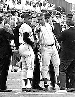 Willie Mays and Cubs Ron Santo go over ground rules before Giants-Cubs game. (1967 photo by Ron Riesterer)