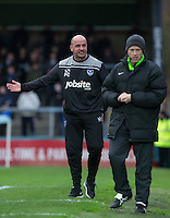 Manager Paul Cook of Portsmouth complains to the fourth official during the Sky Bet League 2 match between Wycombe Wanderers and Portsmouth at Adams Park, High Wycombe, England on 28 November 2015. Photo by Andy Rowland.