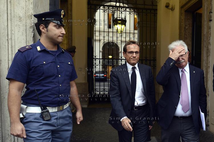 Roma, 9 Ottobre 2012.Palazzo Chigi.Raffaele Bonanni segretario generale CISL all'uscita dall'incontro con il Governo