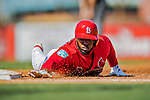 28 February 2019: St. Louis Cardinals top prospect outfielder Randy Arozarena dives safely back to first during a Spring Training game against the New York Mets at Roger Dean Stadium in Jupiter, Florida. The Mets defeated the Cardinals 3-2 in Grapefruit League play. Mandatory Credit: Ed Wolfstein Photo *** RAW (NEF) Image File Available ***