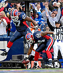 4 November 2007: Buffalo Bills tight end Robert Royal (84) celebrates scoring a touchdown with offensive lineman Melvin Fowler (67) during a game against the Cincinnati Bengals at Ralph Wilson Stadium in Orchard Park, NY. The Bills defeated the Bengals 33-21 in front of a sellout crowd of 70,745...Mandatory Photo Credit: Ed Wolfstein Photo