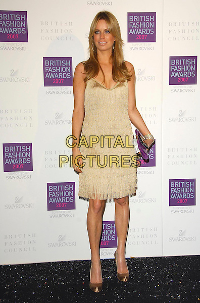 CAROLINE STANBURY.Arriving at the British Fashion Awards 2007 at the Horticulutral Hall London, Engalnd, .27th November  2007..full length gold dress.CAP/CAS.©Bob Cass/Capital Pictures.