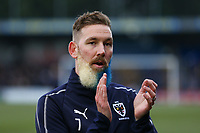 Scott Wagstaff of AFC Wimbledon with his beard dyed in club coloured during  AFC Wimbledon vs Millwall, Emirates FA Cup Football at the Cherry Red Records Stadium on 16th February 2019