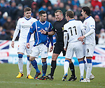 David Templeton and Dean Cowie square up as referee Mike Tumilty intervenes