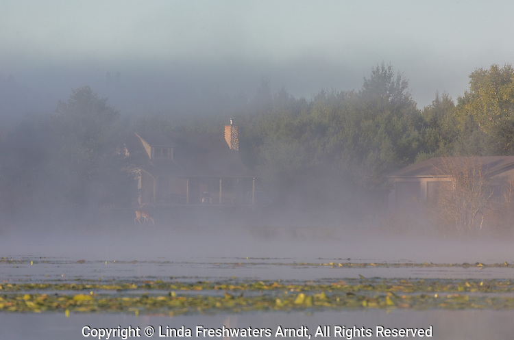 The autumn fog begins to lift revealing a north woods home on the shores of a wilderness lake in northern Wisconsin.
