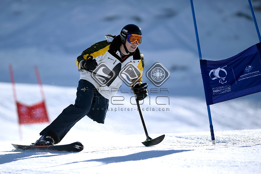 Cameron Rahles-Rahbula, former athlete and team mentor <br /> Australian Paralympic Committee<br /> 2017 Winter Alpine training camp for <br /> 2018 Pyeongchang South Korea Paralympics<br /> Jindabyne / Guthega Ski resort <br /> NSW / August 14-18th 2017<br /> &copy; Sport the library / Jeff Crow