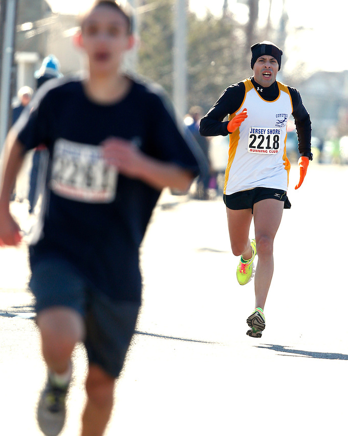 Anthony Parga of Mercer finished 9th in the first annual Manasquan Turkey Run on Sat., Nov. 22, 2014.  (Andrew Mills Digital Media)