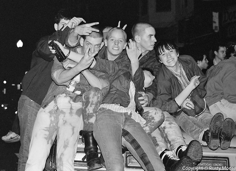 DC Punks in front of the 9:30 Club, Washington DC 1982.