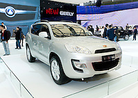 China's Geely automaker displays its Emgrand EX825 car during Shanghai Motor Show, in Shanghai, China, on April 20, 2009. Shanghai auto show opened Monday for the press and will be open April 24-28 for the public. China is the only major auto market still growing despite the global economic slowdown. U.S. and global auto makers see China as the place where they can find the sales they desperately lack in their home market. Chinese automakers see the opportunity to assess themselves as major players in the world market. Photo by Lucas Schifres/Pictobank