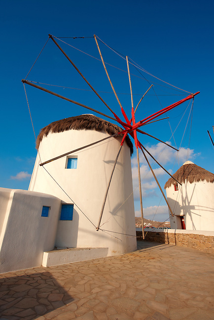 The traditional Greek windmills of Mykonos Chora. Cyclades Islands, Greece