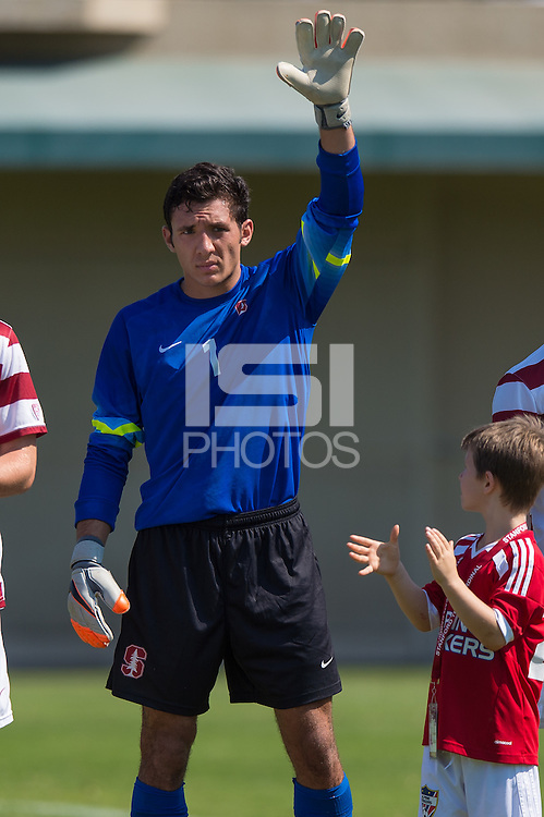Stanford, CA - September 20, 2015: Andrew Epstein before the Stanford vs Davidson men's soccer match in Stanford, California.  The Cardinal defeated the Wildcats 1-0 in overtime.