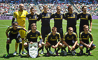 1CARSON, CA – July 24, 2011: LA Galaxy starting lineup for the match between LA Galaxy and Manchester City FC at the Home Depot Center in Carson, California. Final score Manchester City FC 1 and LA Galaxy 1. Manchester City wins shoot out 7, LA Galaxy 6.