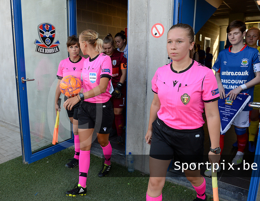 20190810 - DENDERLEEUW, BELGIUM : Belgian assistant referee Shauni Depruyst pictured during the female soccer game between the Greek PAOK Thessaloniki Ladies FC and the Northern Irish Linfield ladies FC , the second game for both teams in the Uefa Womens Champions League Qualifying round in group 8 , Wednesday 7 th August 2019 at the Van Roy Stadium in Denderleeuw  , Belgium  .  PHOTO SPORTPIX.BE | DAVID CATRY