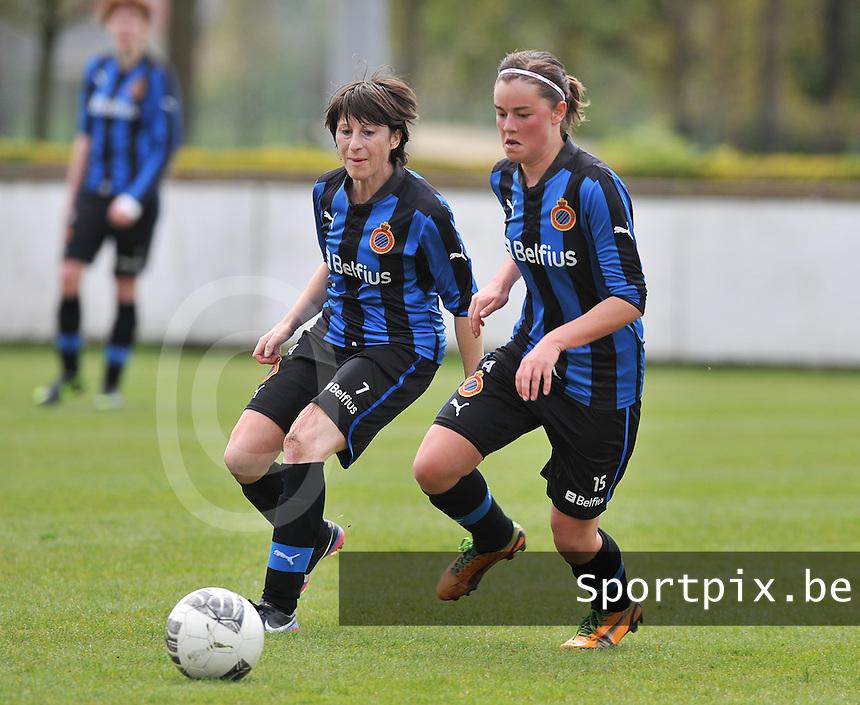 Club Brugge Dames - STVV Sint Truidense VV : Ingrid De Rycke en Charlotte Laridon (r).foto DAVID CATRY / Nikonpro.be