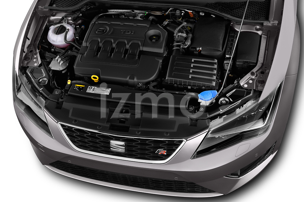 Car Stock 2017 Seat Leon-ST FR 5 Door Wagon Engine  high angle detail view