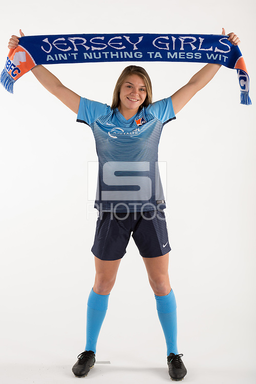 Belmar, NJ - Wednesday March 29, 2017: Erica Skroski poses for photos at the Sky Blue FC team photo day.