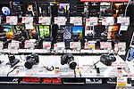Cameras and lenses on display in electronics store Yodobashi Camera, Yodobashi-Akiba in Akihabara, Tokyo, Japan.