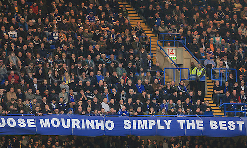 19.12.2015. Stamford Bridge, London, England. Barclays Premier League. Chelsea versus Sunderland. The Chelsea fans sung about Jose Mourinho for most of the afternoon as they sit behind a banner referencing their former manager.