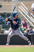 Max George (3) of the Asheville Tourists at bat against the Kannapolis Intimidators at Kannapolis Intimidators Stadium on May 7, 2017 in Kannapolis, North Carolina.  The Tourists defeated the Intimidators 4-1.  (Brian Westerholt/Four Seam Images)