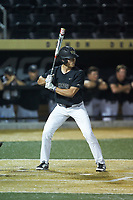 Chase Mascolo (28) of the Wake Forest Demon Deacons at bat against the Virginia Cavaliers at David F. Couch Ballpark on May 18, 2018 in  Winston-Salem, North Carolina.  The Cavaliers defeated the Demon Deacons 15-3.  (Brian Westerholt/Four Seam Images)