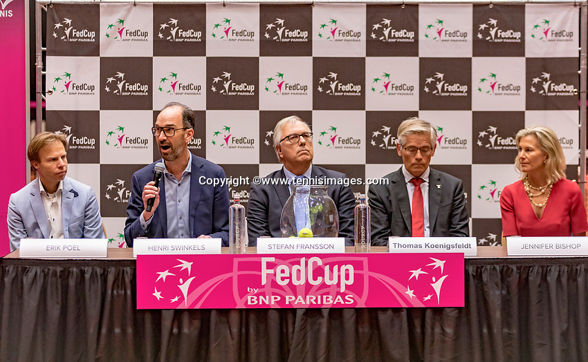 Den Bosch, The Netherlands, Februari 8, 2019,  Maaspoort , FedCup  Netherlands - Canada, Draw officials table ltr: Erik Poel, Henri Swinkels, Stefan Fransson, Thomas Koeningsfeldt and Jennifer Bishop.<br /> Photo: Tennisimages/Henk Koster