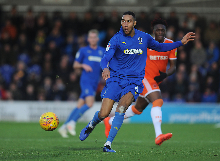 AFC Wimbledon's Terell Thomas<br /> <br /> Photographer Kevin Barnes/CameraSport<br /> <br /> The EFL Sky Bet League One - AFC Wimbledon v Blackpool - Saturday 29th December 2018 - Kingsmeadow Stadium - London<br /> <br /> World Copyright © 2018 CameraSport. All rights reserved. 43 Linden Ave. Countesthorpe. Leicester. England. LE8 5PG - Tel: +44 (0) 116 277 4147 - admin@camerasport.com - www.camerasport.com
