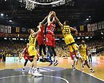 19.06.2019, Mercedes Benz Arena, Berlin, GER, 1.BBL, ALBA ERLIN vs.  FC Bayern Muenchen, <br /> im Bild Tim Schneider (ALBA Berlin #10), Johannes Thiemann (ALBA Berlin #32),<br /> Leon Radosevic (FC Bayern Muenchen #10), Derrick Williams (FC Bayern Muenchen #23)<br /> <br />      <br /> Foto © nordphoto / Engler