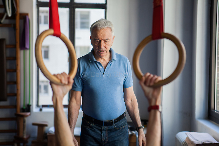 Ivo Lupis, 84, has been working as a personal trainer on 57th St since 1967. His recently client age spans from ages 4-93, though he now mostly works with seniors. Pictured, Belle Horwitz.