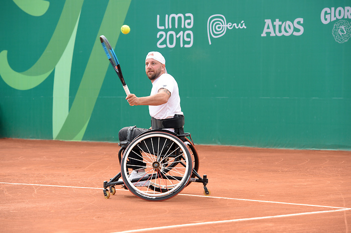 Mitchell Mcintyre competes in the wheelchair tennis at the 2019 ParaPan American Games in Lima, Peru-28aug2019-Photo Scott Grant