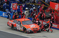 Apr 27, 2008; Talladega, AL, USA; NASCAR Sprint Cup Series driver Tony Stewart pits during the Aarons 499 at Talladega Superspeedway. Mandatory Credit: Mark J. Rebilas-