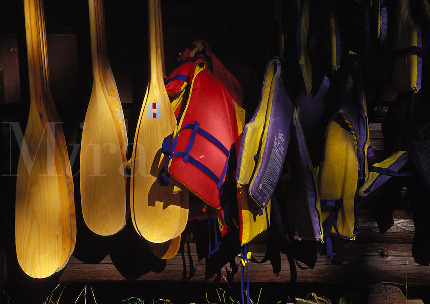 Canoe paddles and life vests at Daicey Pond Campground in Baxter State Park, Maine