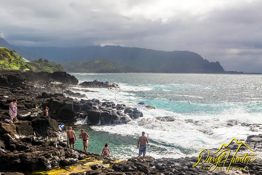 Queen's Bathtub, a seaside tidewater swimming hole on Hanalei Bay in the island of Kauai in Hawaii