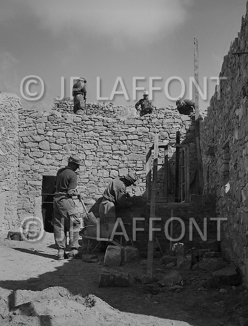 """Mascara Area, Algeria, Summer 1961. Typical French Fort for a small harka unit. This unit counted 48 """"harkis"""", Arab origin, fighting along the French troops. This fort was above the small vilage of M'Zaourat of about 50 souls. The fort construction was made by disciplinary section of First Regiment of Foreign Legion."""