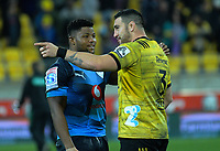 Bulls Lizo Gqoboka (left) chats with Hurricanes' Jeff Toomaga-Allen after the Super Rugby quarterfinal between the Hurricanes and Bulls at Westpac Stadium in Wellington, New Zealand on Saturday, 22 June 2019. Photo: Dave Lintott / lintottphoto.co.nz