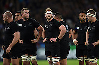 Kieran Read of New Zealand looks on during a break in play. Rugby World Cup Pool C match between New Zealand and Namibia on September 24, 2015 at The Stadium, Queen Elizabeth Olympic Park in London, England. Photo by: Patrick Khachfe / Onside Images