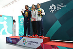 (L-R) Samjeev Rajput (IND), Hui Zicheng (CHN),   Takayuki Matsumoto (JPN), <br /> AUGUST 21, 2018 - Shooting - Rifle : <br /> Men's 50m Rifle 3 Positions Medal ceremony<br /> at Jakabaring Sport Center Shooting Range <br /> during the 2018 Jakarta Palembang Asian Games <br /> in Palembang, Indonesia. <br /> (Photo by Yohei Osada/AFLO SPORT)
