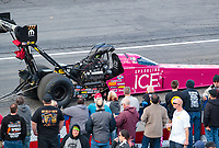 Feb 9, 2019; Pomona, CA, USA; NHRA top fuel driver Leah Pritchett during qualifying for the Winternationals at Auto Club Raceway at Pomona. Mandatory Credit: Mark J. Rebilas-USA TODAY Sports