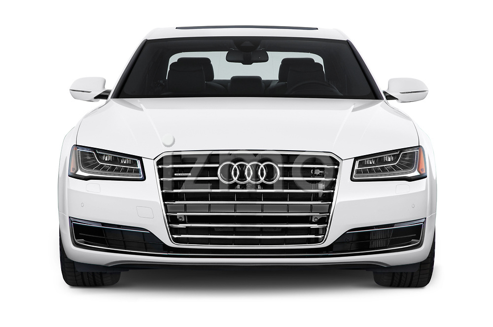 Car photography straight front view of a 2015 Audi A8 4.0T NWB quattro Tiptronic 5 Door Sedan