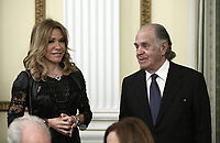 Pictured: Marianna Latsi and Theodoros Angelopoulos during the official state dinner at the Presidential Mansion in Athens, Greece. Wednesday 09 May 2018 <br /> Re: Official visit of HRH Prnce Charles and his wife the Duchess of Cornwall to Athens, Greece.