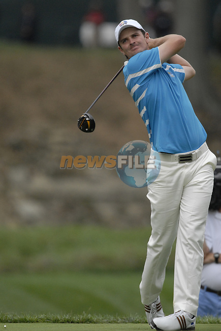 European Team player Justin Rose drives off on the 15th tee during the Morning Foursomes on Day 2 of the Ryder Cup at Valhalla Golf Club, Louisville, Kentucky, USA, 20th September 2008 (Photo by Eoin Clarke/GOLFFILE)